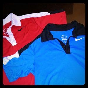 Two Nike Golf Dri-Fit Polos Boys Medium 10/12